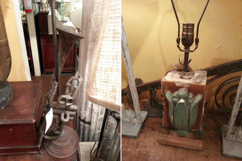 Lámparas hechas de artefactos arquitectónicos e instrumentos musicales