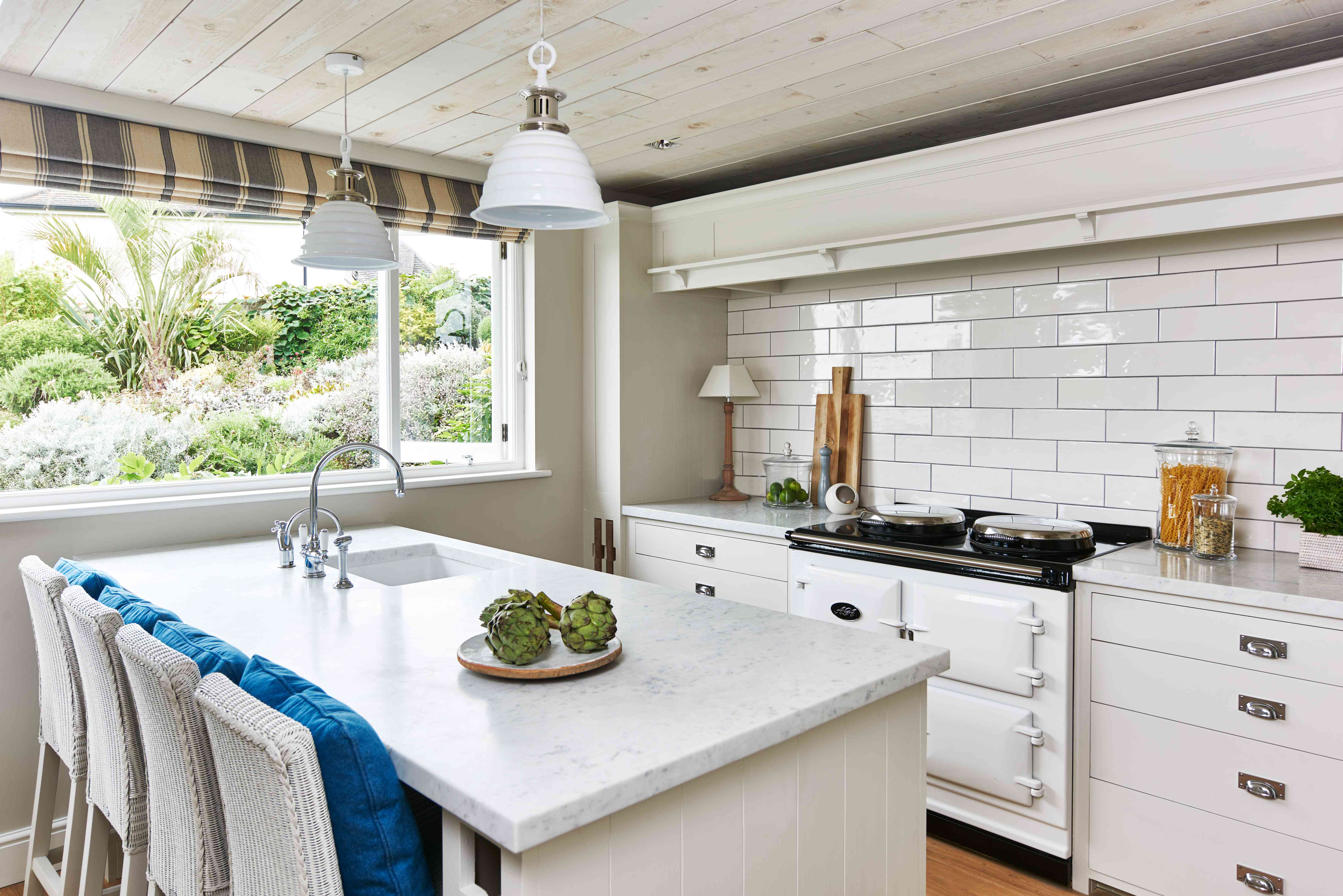 The kitchen in the country of Emma Sims-Hilditch's seaside vacation home in Cornwall
