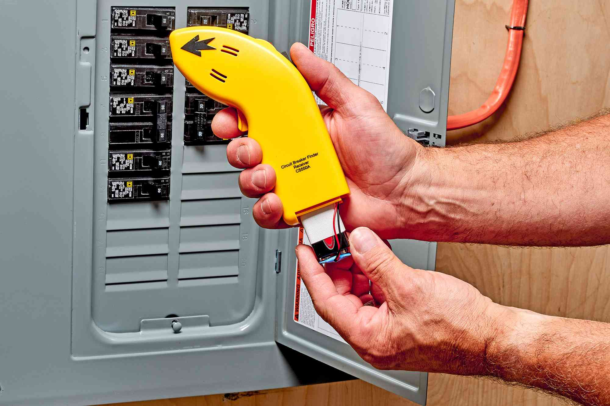 9-volt receiver battery installed in circuit breaker handle