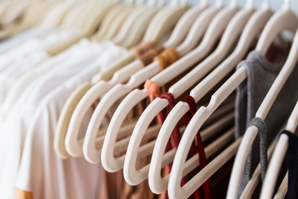 clothing hung up on slim hangers