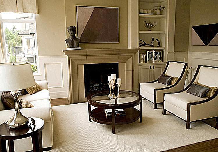 Fireplace-focused living room