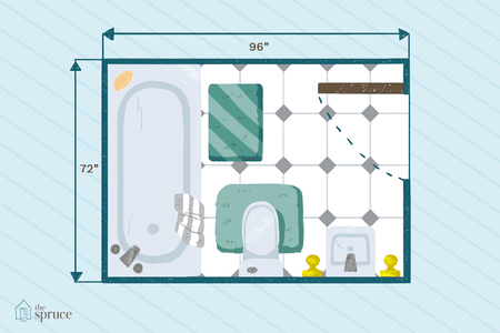 Ilration Of Small Full Bathroom Floor Plan