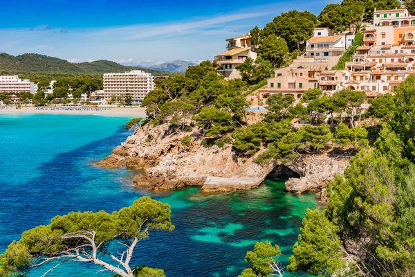 View of Canyamel bay, beautiful coast on Mallorca island, Spain Mediterranean Sea