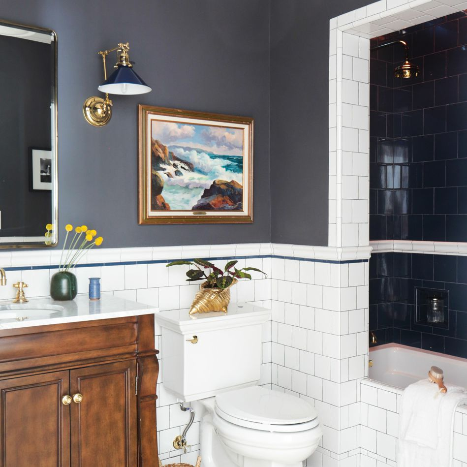 Charcoal gray bathroom walls