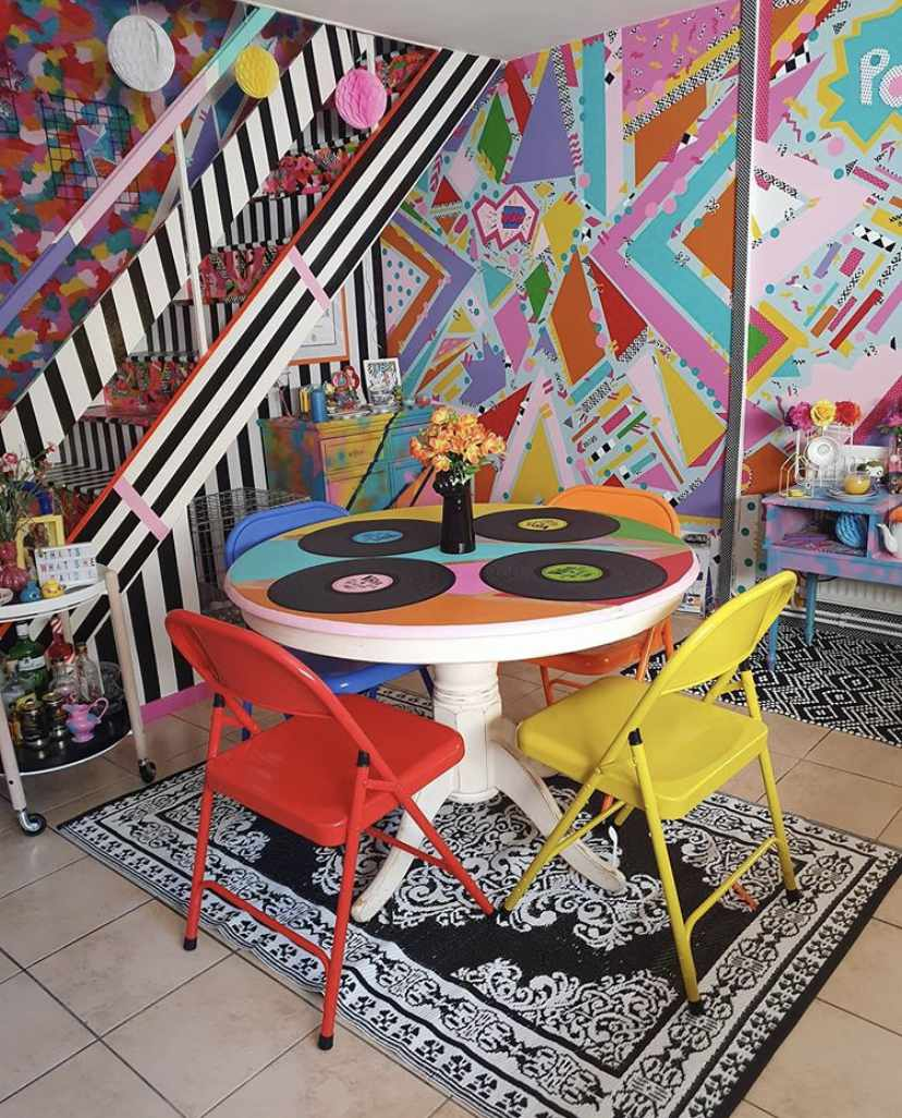 Neon colored room with bold colored decor