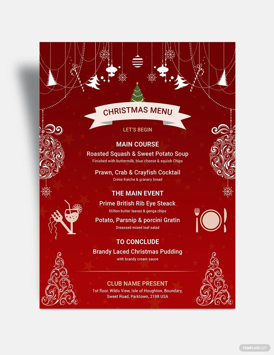 A red Christmas menu with ornaments and trees
