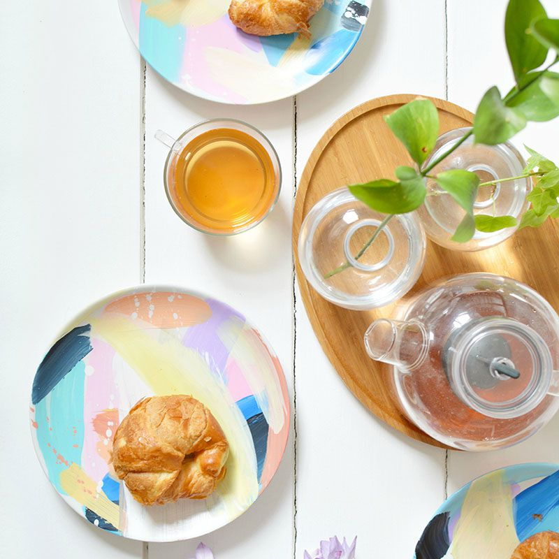 DIY Abstract Painted Plates