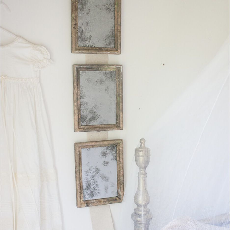 three small French and Vintage-inspired mirrors made from picture frame