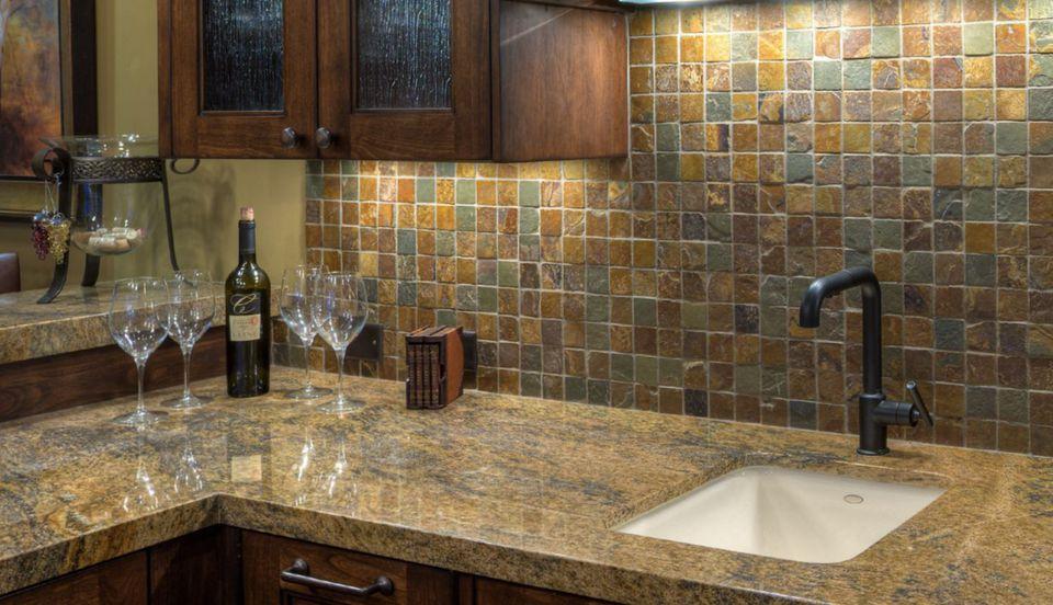 """Slate 2"""" Tumbled Mosaic Kitchen Backsplash"""