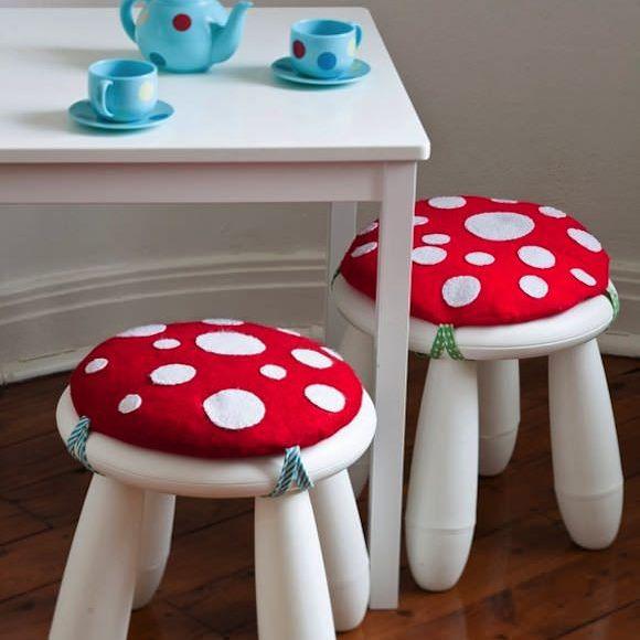 DIY woodland toadstool nursery stools for kids