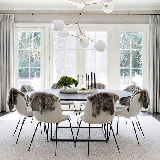 White monochromatic dining room