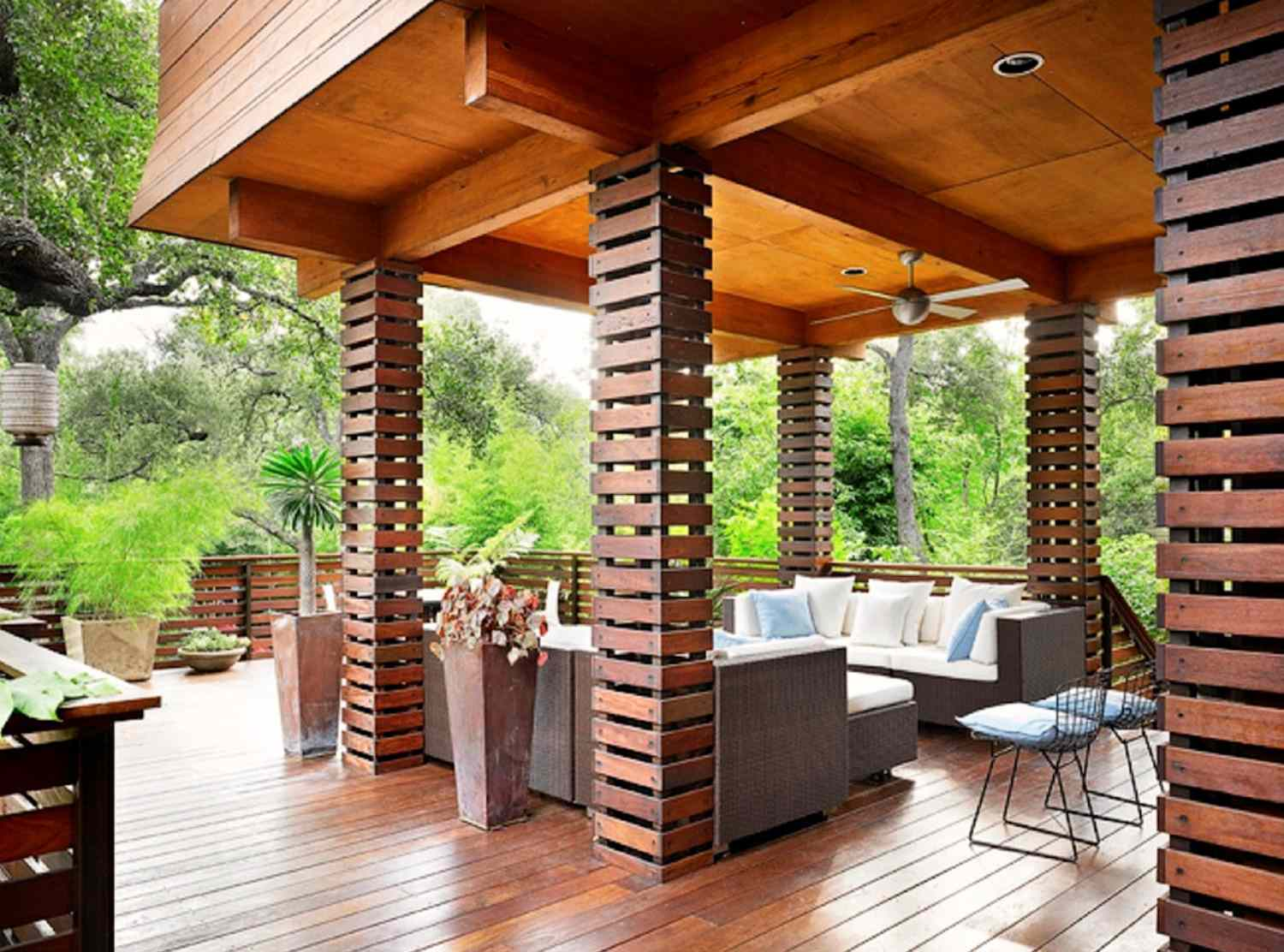 Bali-inspired covered deck