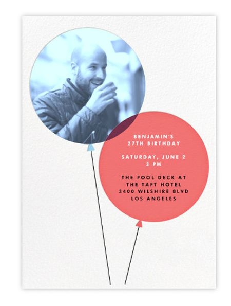 Free birthday invitations online an online birthday invite featuring two balloons one with a photo and one with party filmwisefo