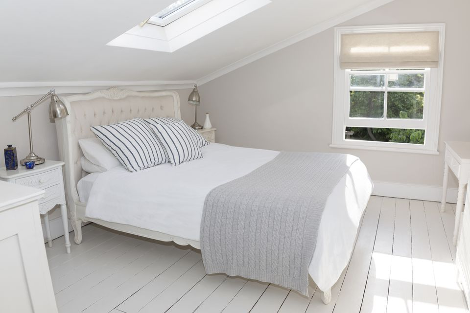 An all white attic bedroom
