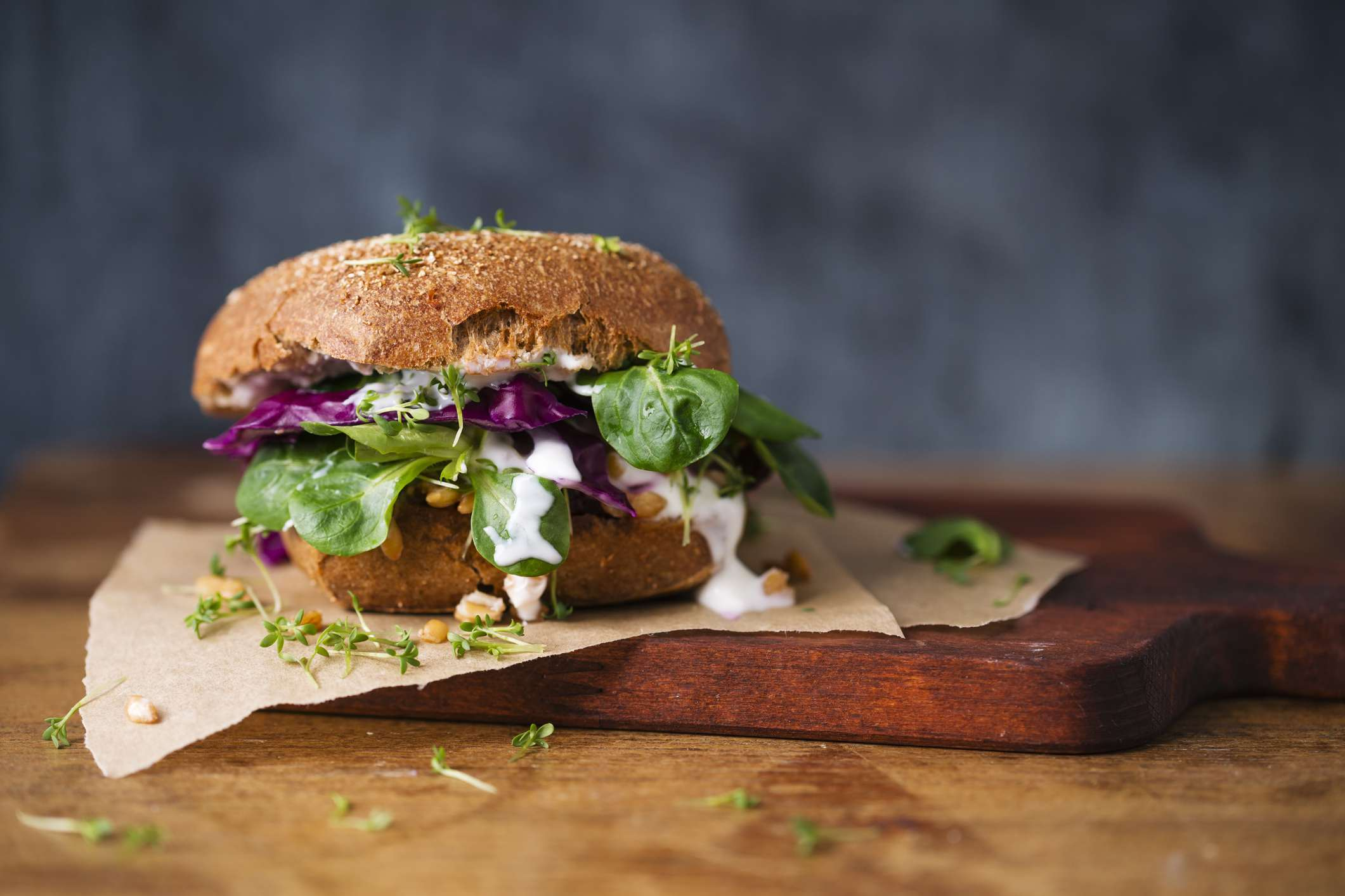 A close-up of a veggie burger.