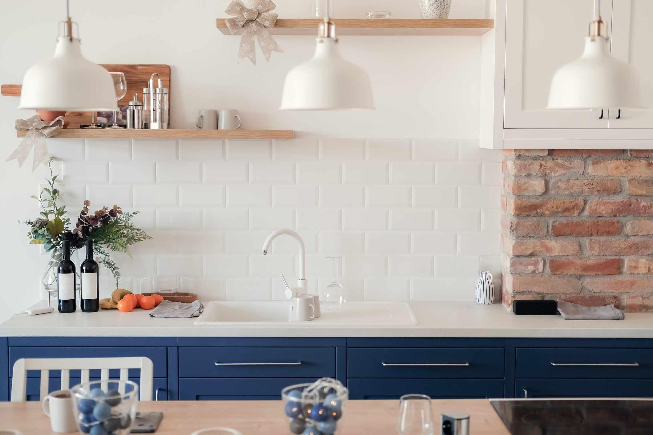 neutral and navy kitchen