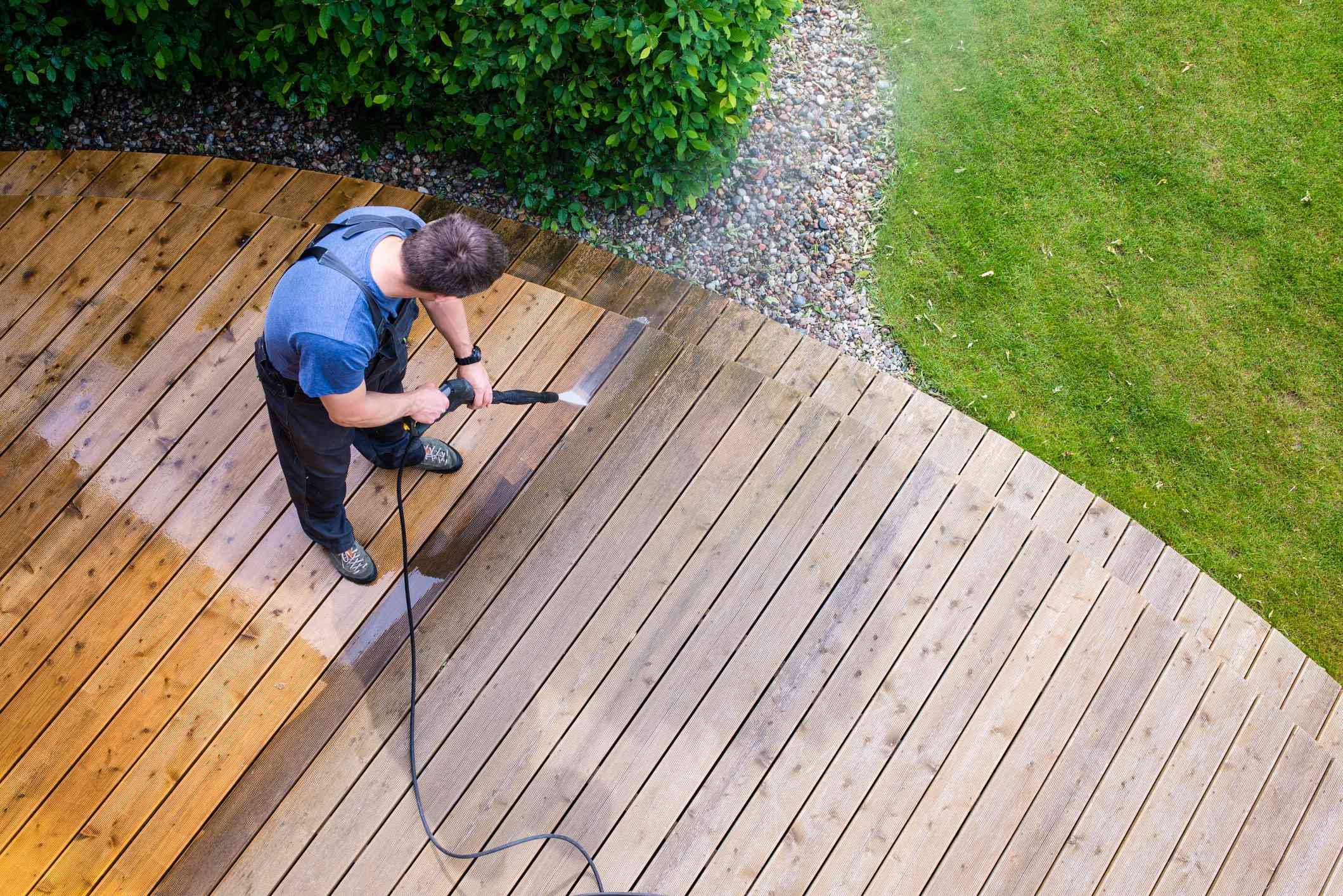 Man cleaning deck