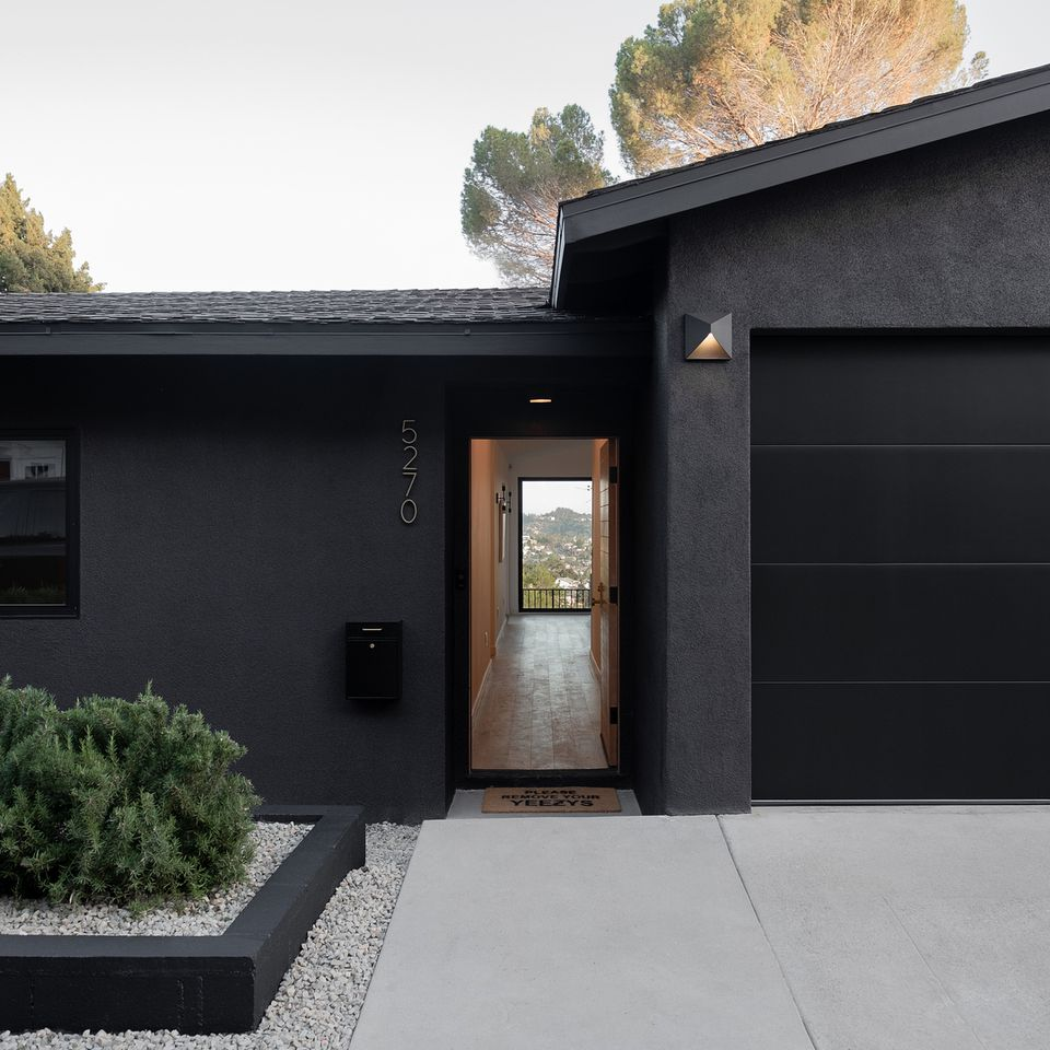 Black stucco house