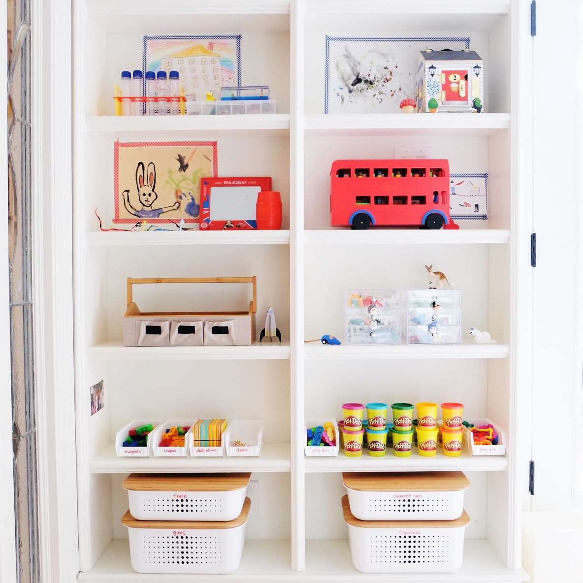 Built-in shelving in a kid's playroom
