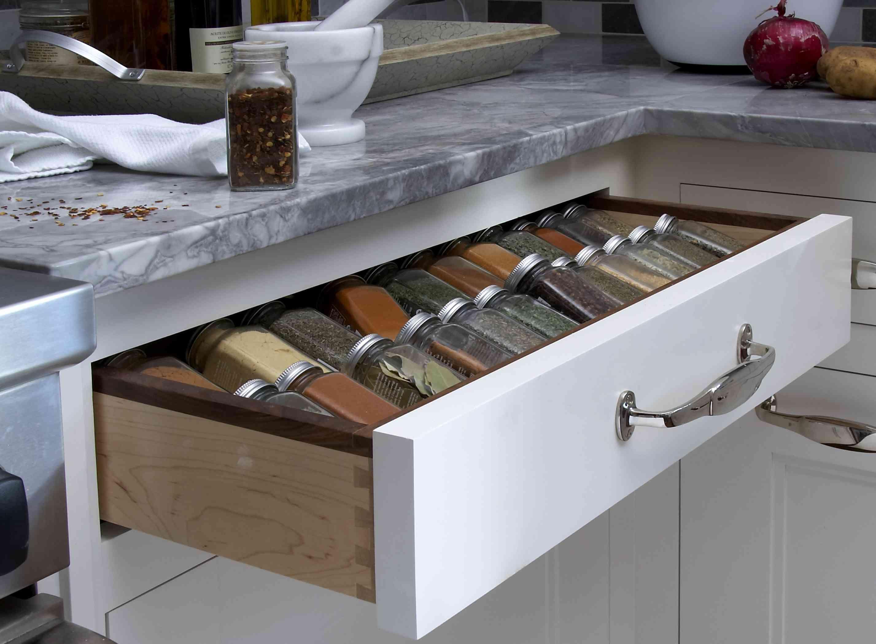 spices hidden in kitchen drawer