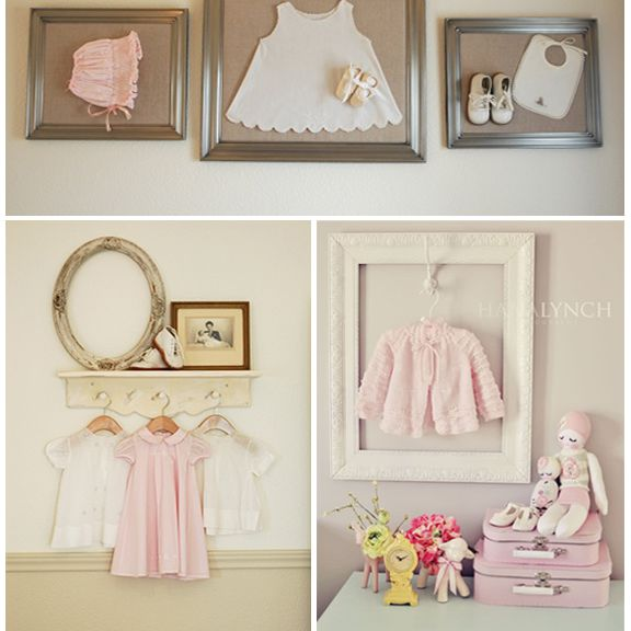 Baby clothes displayed in a vintage nursery.