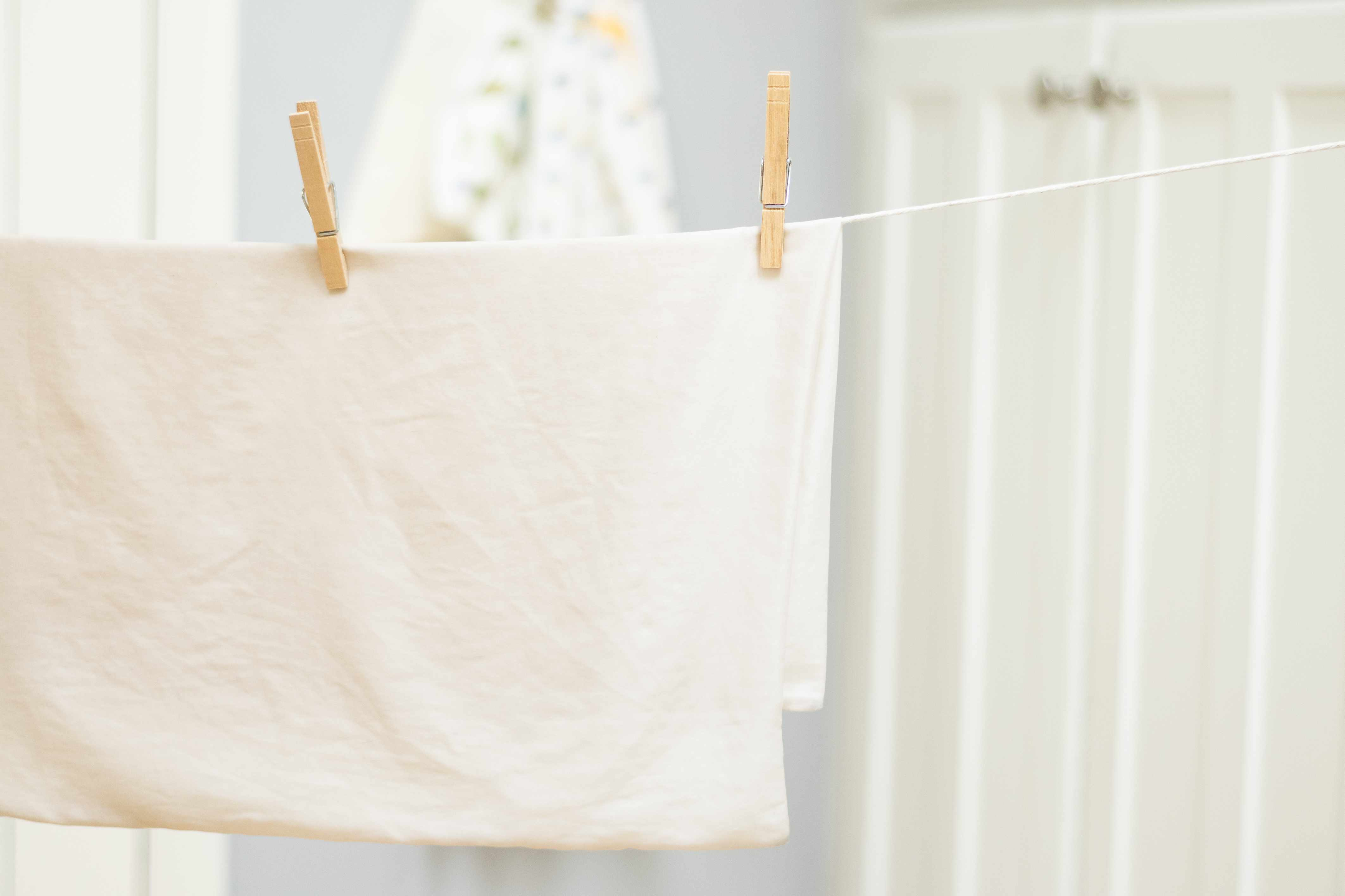 line-drying a silk pillowcase