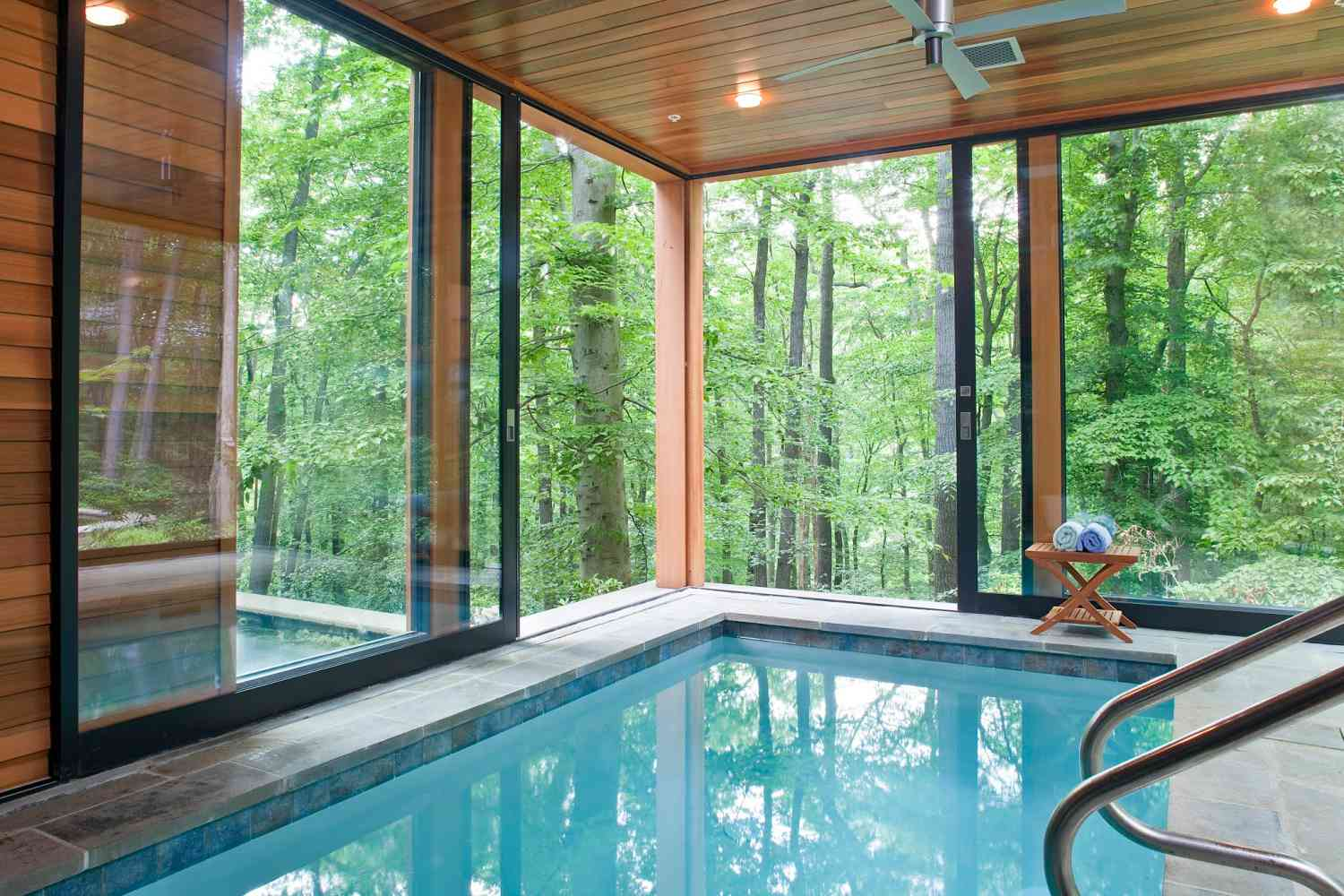 Indoor Pool With View of the Woods