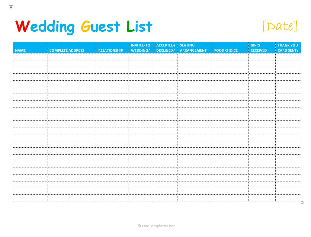 3 Free Wedding Guest List Templates and Managers