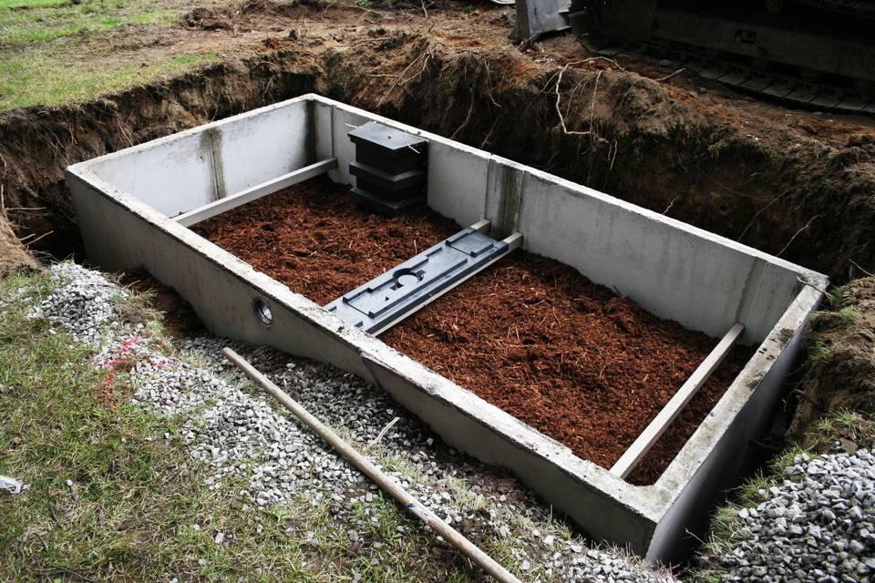 A septic system under construction