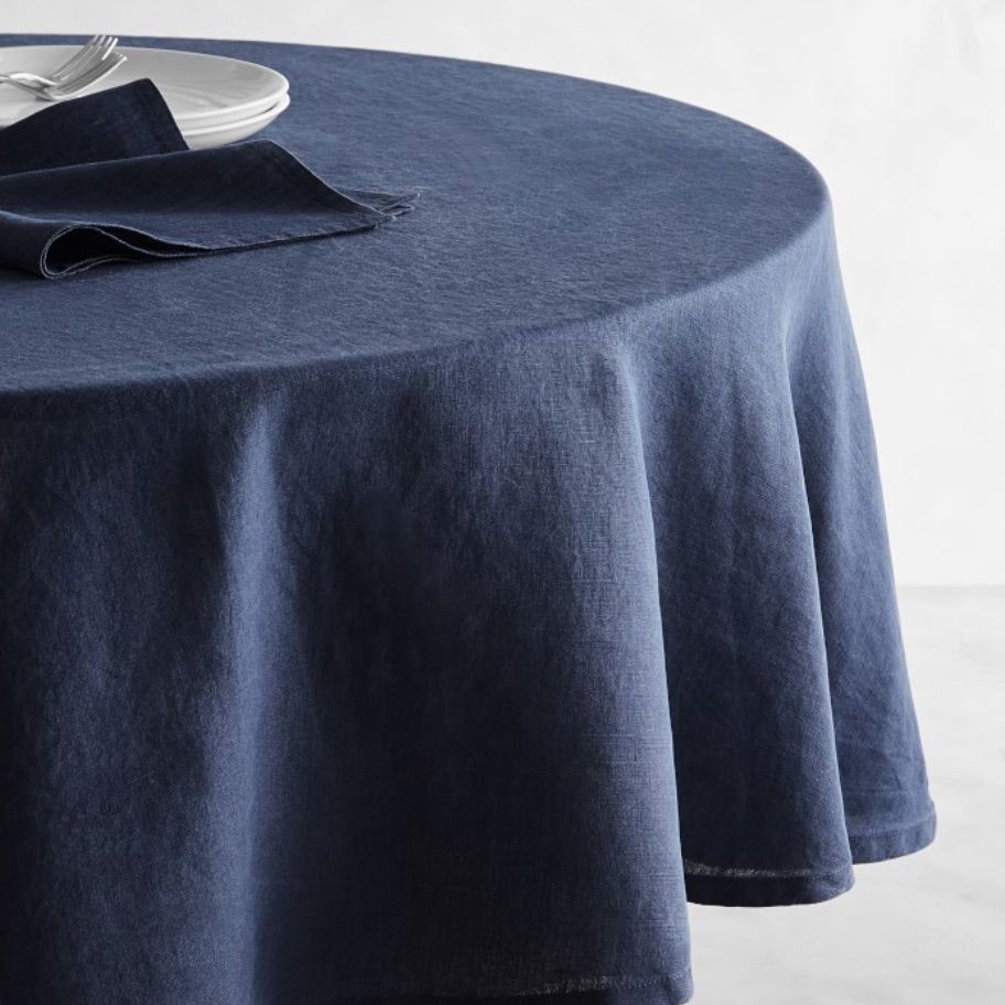 Italian Washed Linen Round Tablecloth