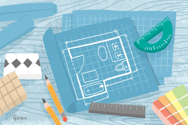 illustration of bathroom floor plan blueprints