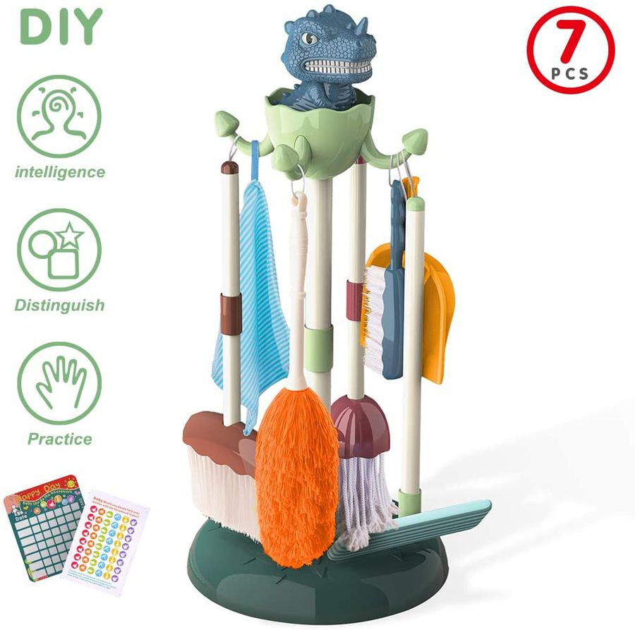 Frustration Free Packaging Dinosaur Station Kids Cleaning Set Small Broom and Dustpan Set 6-in-1 Cleaning Tools Pretend Play Activities Housekeeping Toys for Toddler Boys and Girls