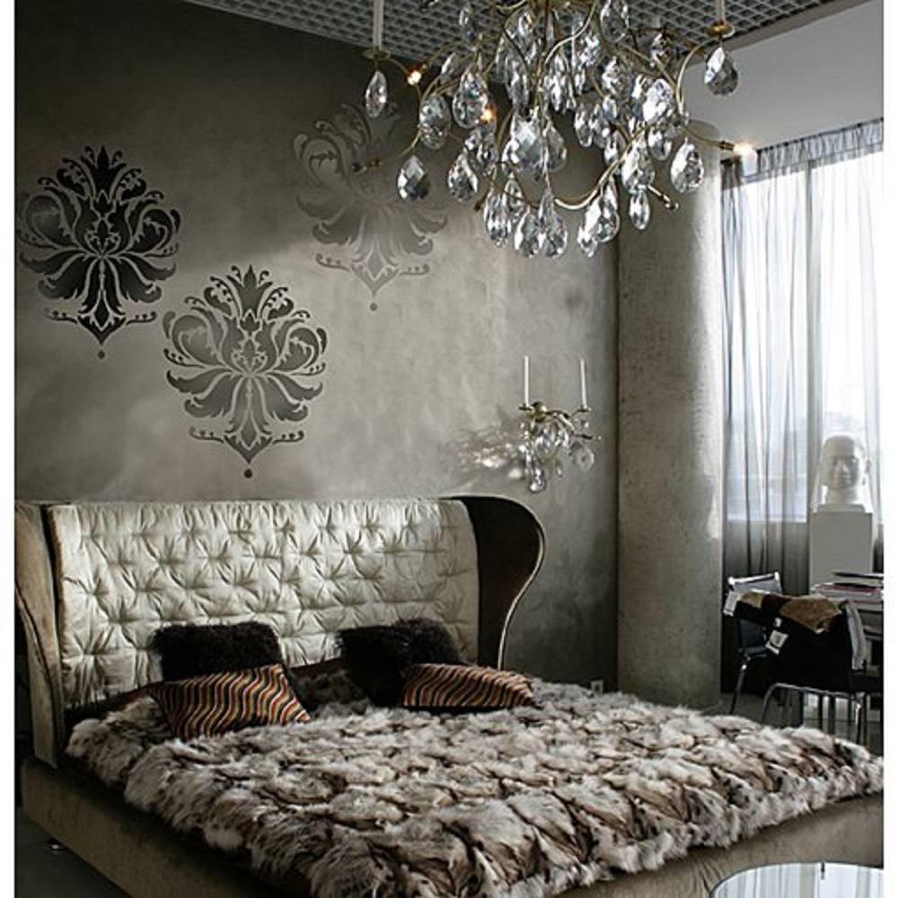 Romantic Brown Bedroom with Stencils