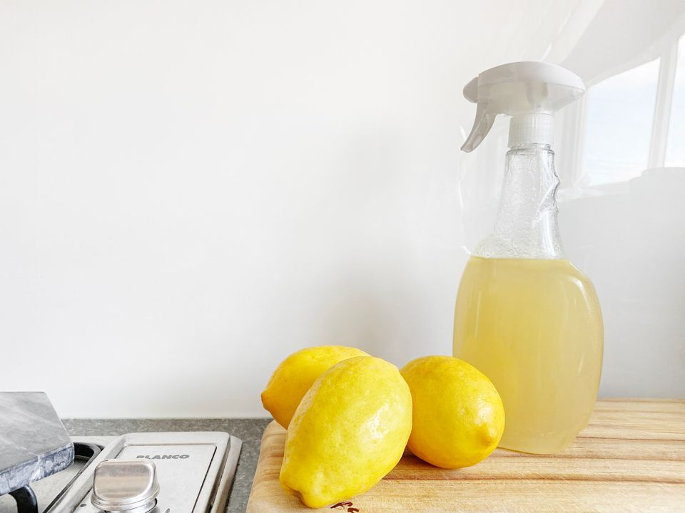 Lemons by a spray bottle