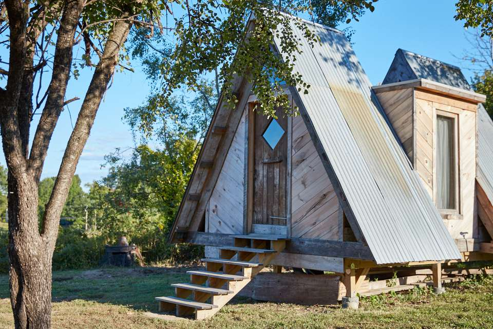 A-frame log cabin
