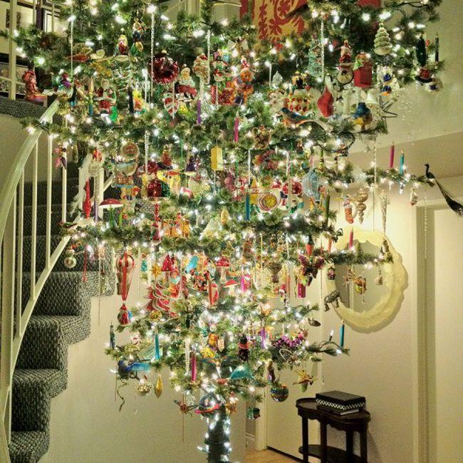 upside down xmas tree vintage decorations