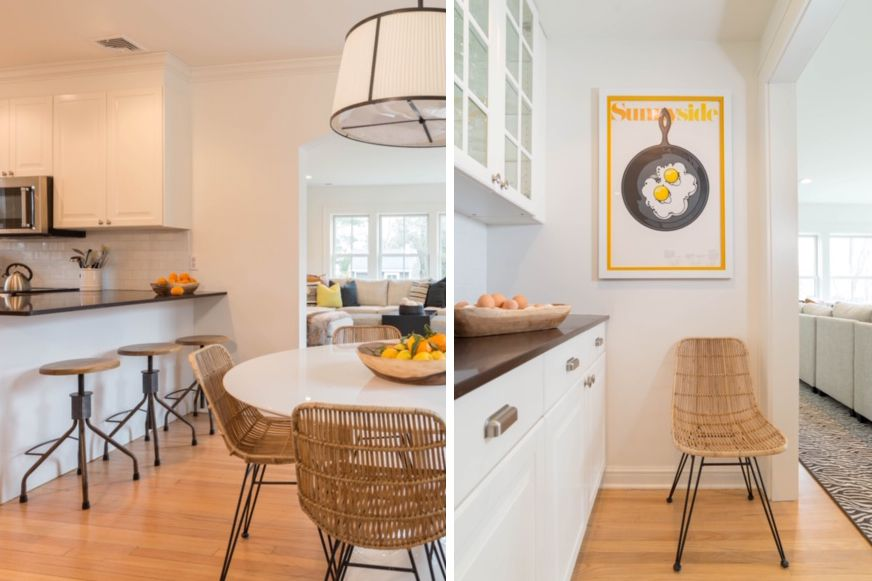 Cocina blanca tradicional con ambiente minimalista