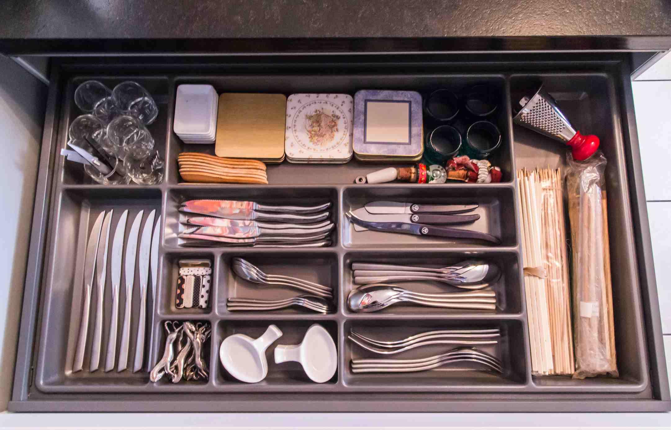 Utensils in Open Drawer in Kitchen