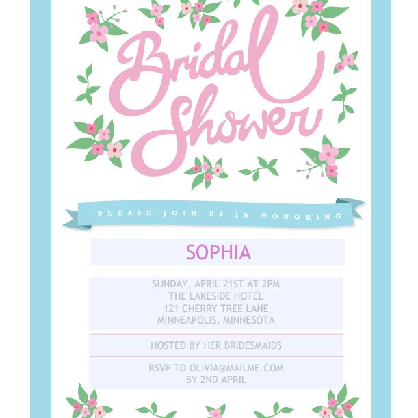 a floral pink and green bridal shower invitation