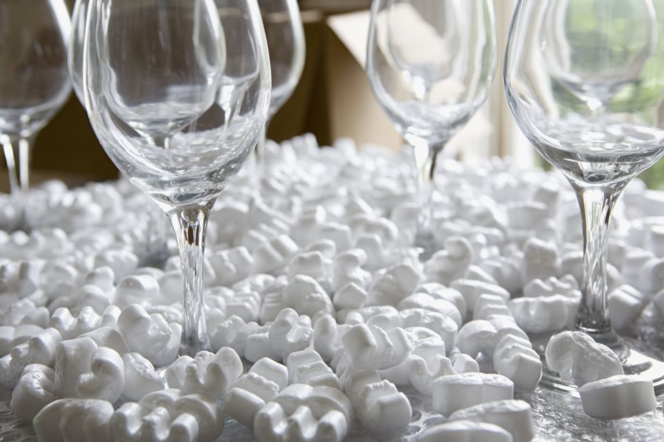 Wine glasses in packing peanuts