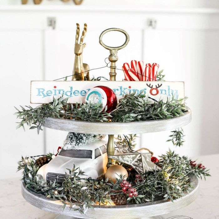 Tiered dessert plate with Christmas decor