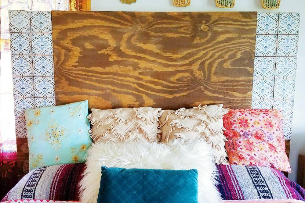 Tile and wood headboard diy