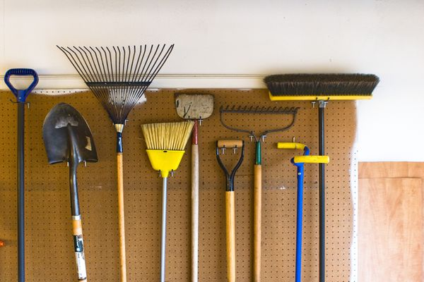 tools on pegboard in a garage