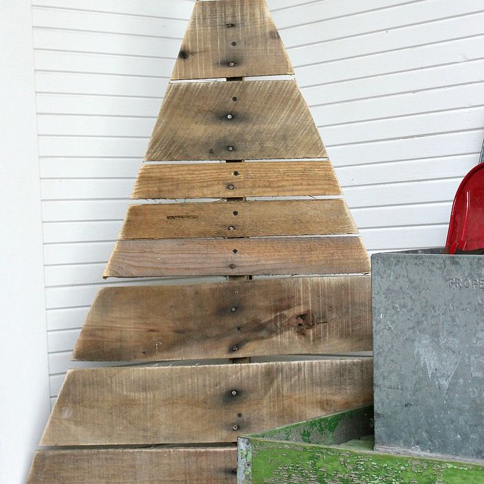 A Christmas tree made from a pallet