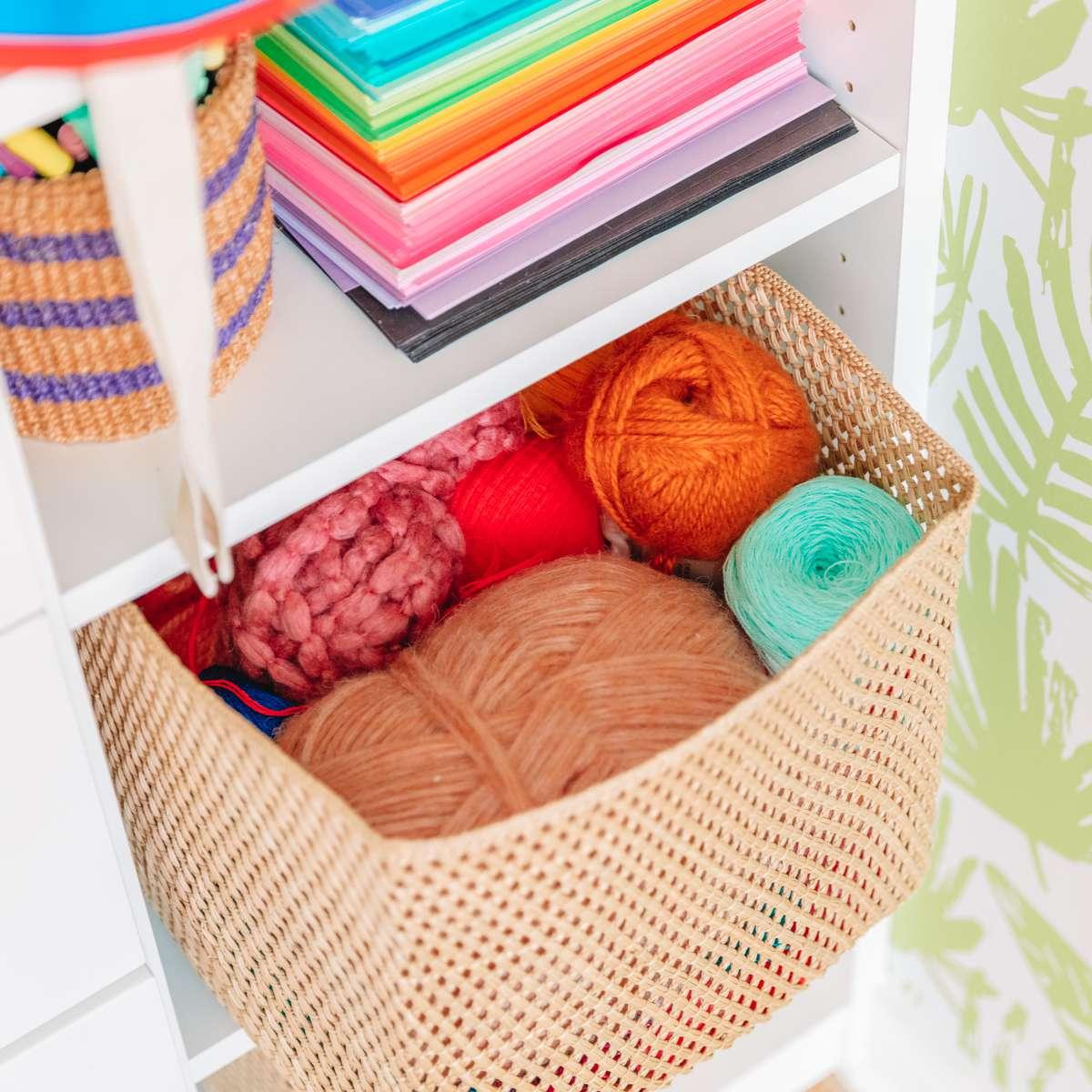 yarn stored in wicker basket