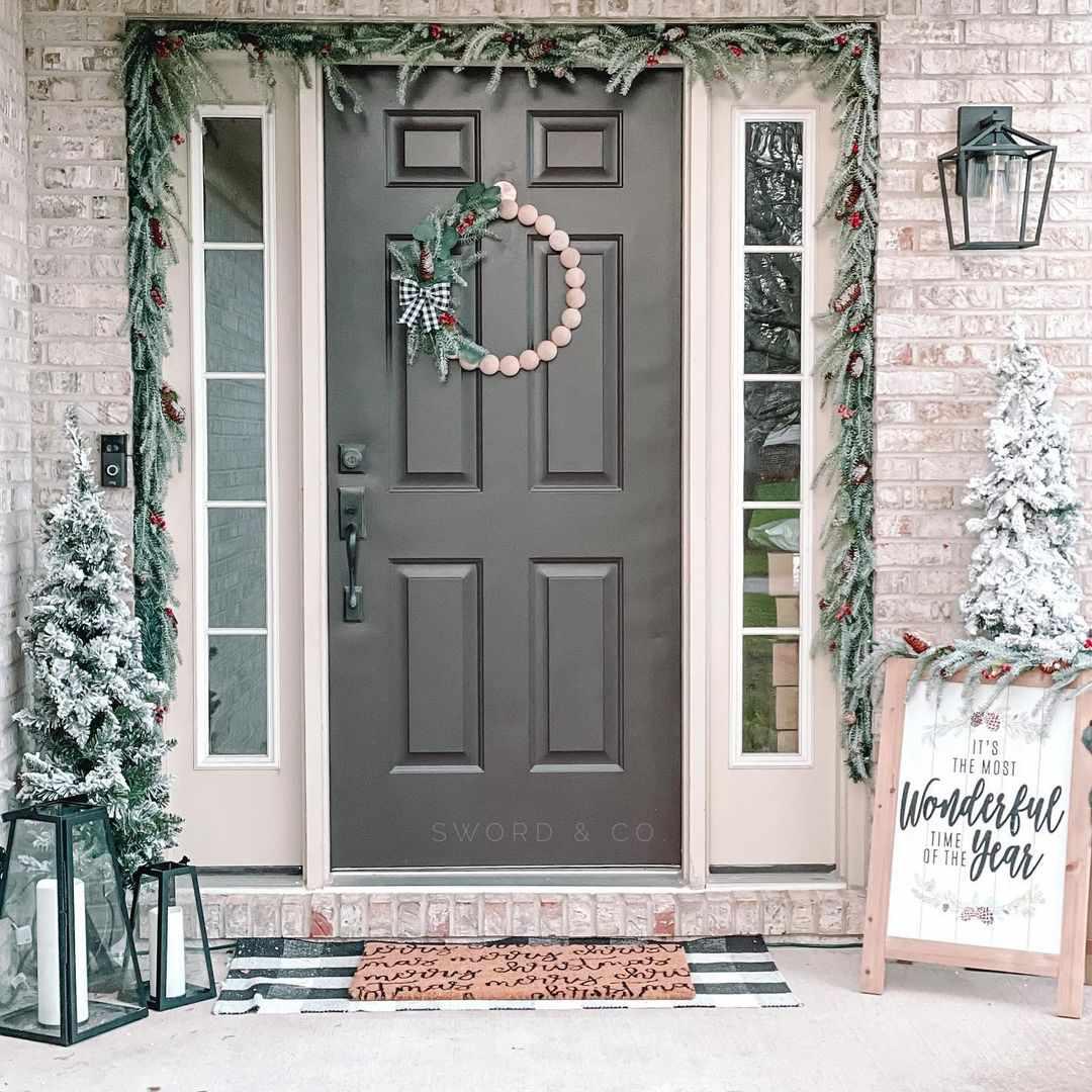 Beaded wreath on a black door