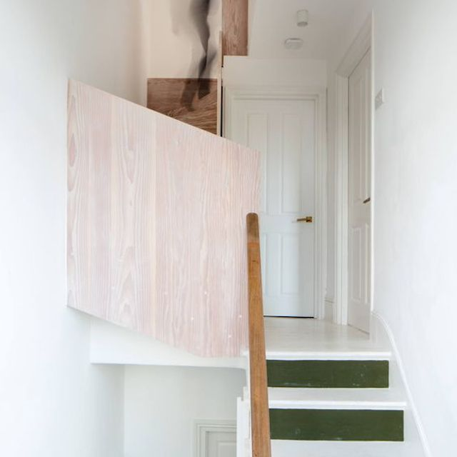subtle green and pink stairs