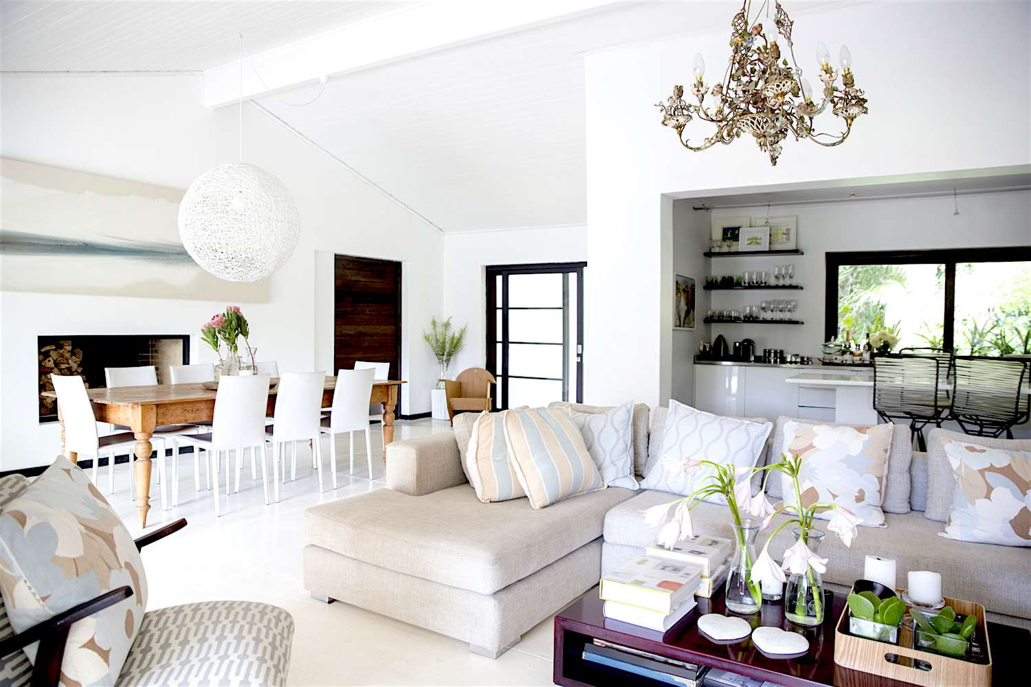A minimally decorated pale interior