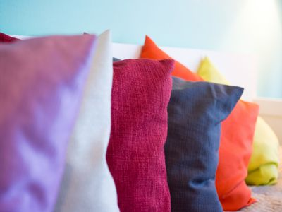 Different color throw pillows