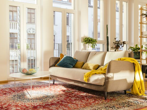 A bright, modern living room with a Persian rug.
